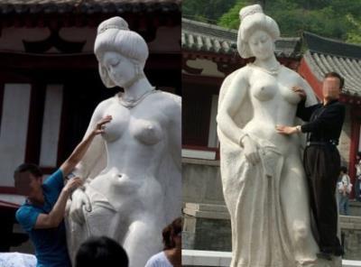 Trung Quốc cấm du khách sờ ngực tượng Dương Quý Phi
