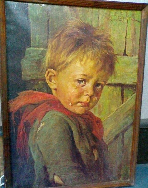 Vì sao bức tranh mang tên Cậu bé khóc khiến tất cả mọi vật bị thiêu rụi, trừ chính nó?