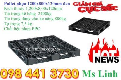 Pallet nhựa đen 1200x800x120mm khuyến mãi giá sốc 325.000đ