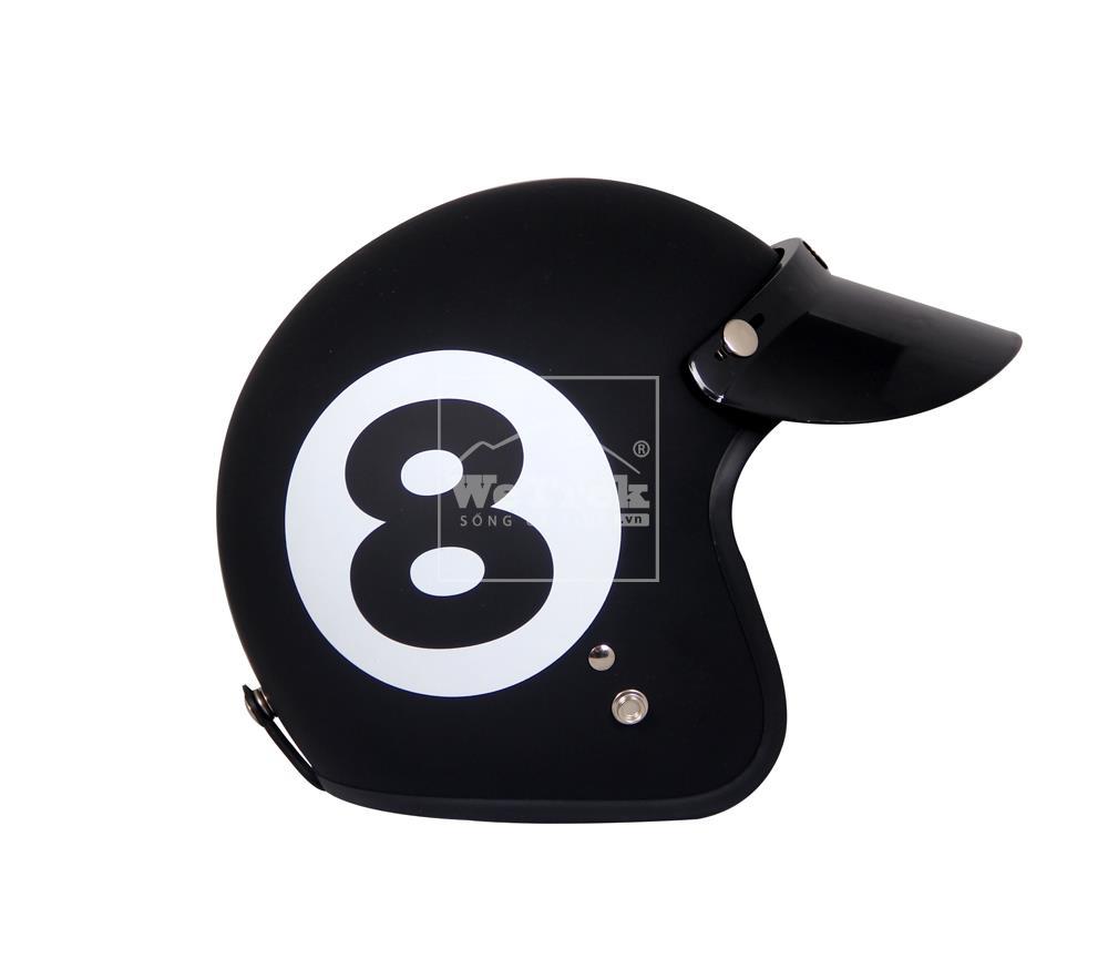 Mũ bảo hiểm xe máy 3/4 Dammtrax D13 - Đen nhám hoa văn số 8 Trắng